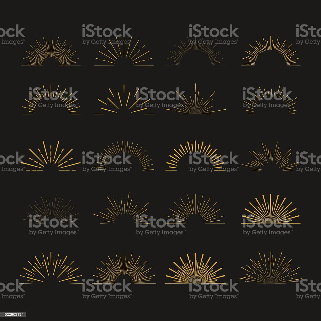 Set of  vintage hipster linear sunbursts. Retro chalkboard logo elements vector art illustration