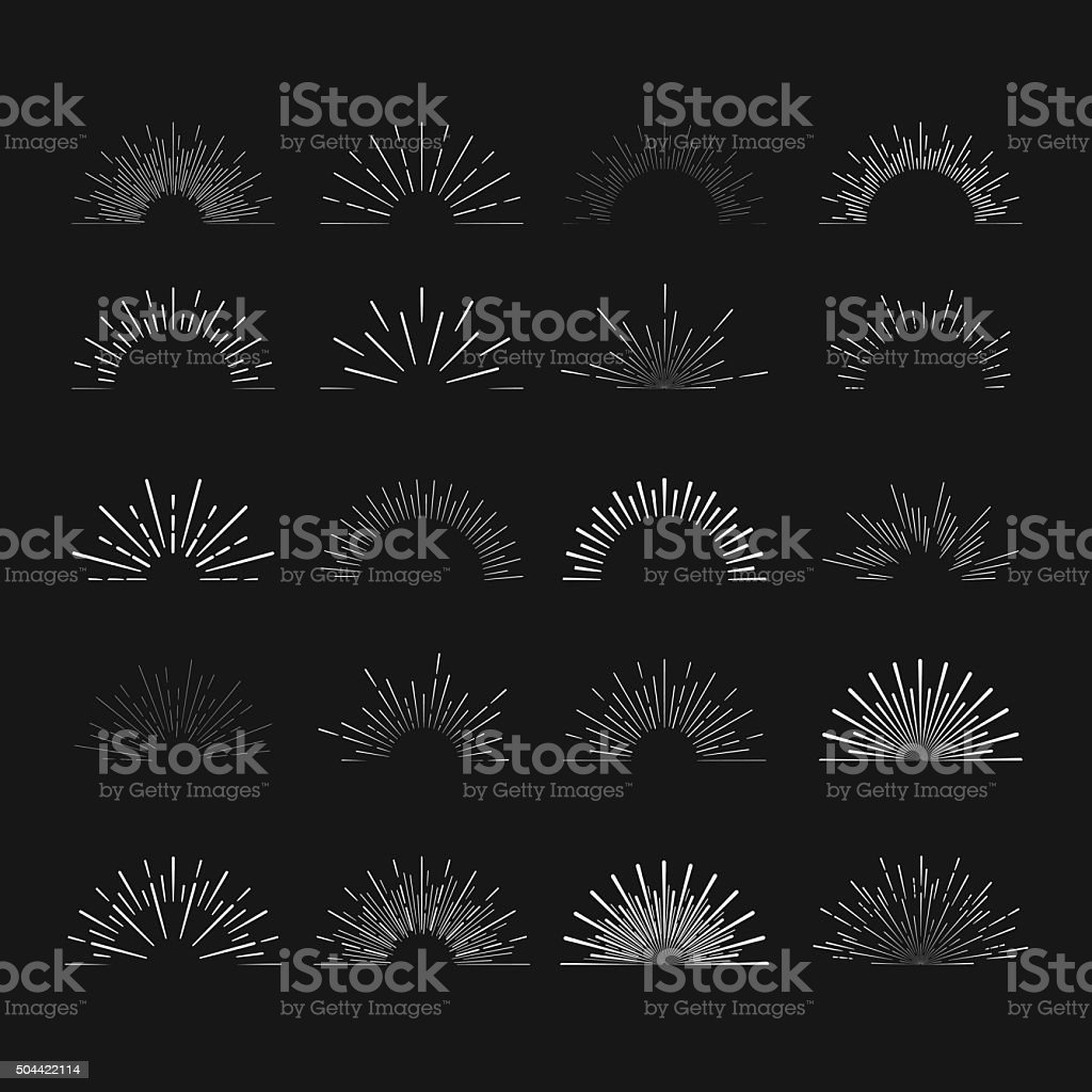 Set of  vintage hipster linear sunbursts. vector art illustration