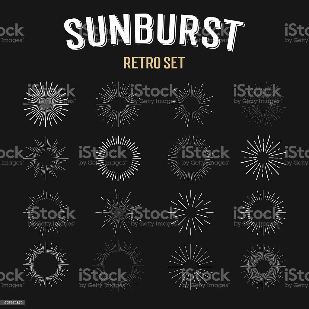 Set of  vintage hipster linear sunbursts. vector art illustration