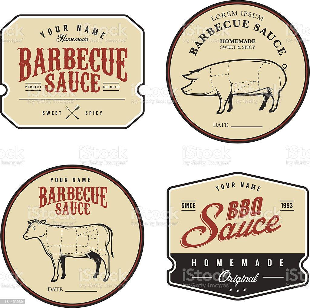 Set of vintage homemade barbecue sauce labels vector art illustration