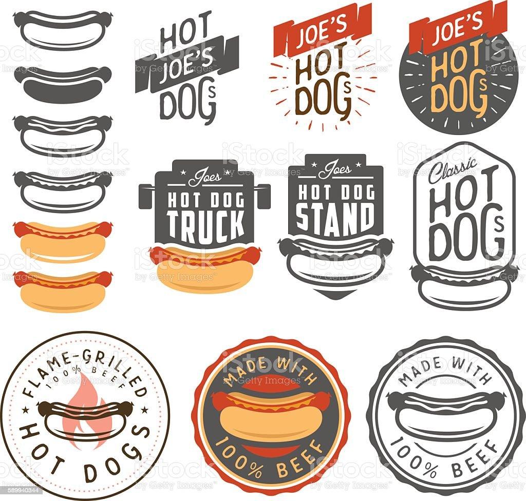 Set of vintage hot dog labels, emblems and design elements vector art illustration