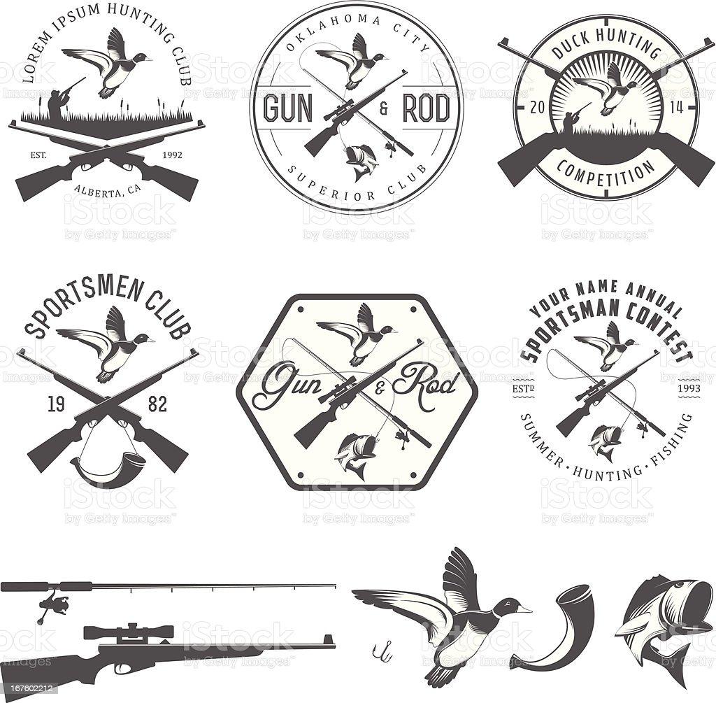 Set of vintage hunting and fishing design elements vector art illustration