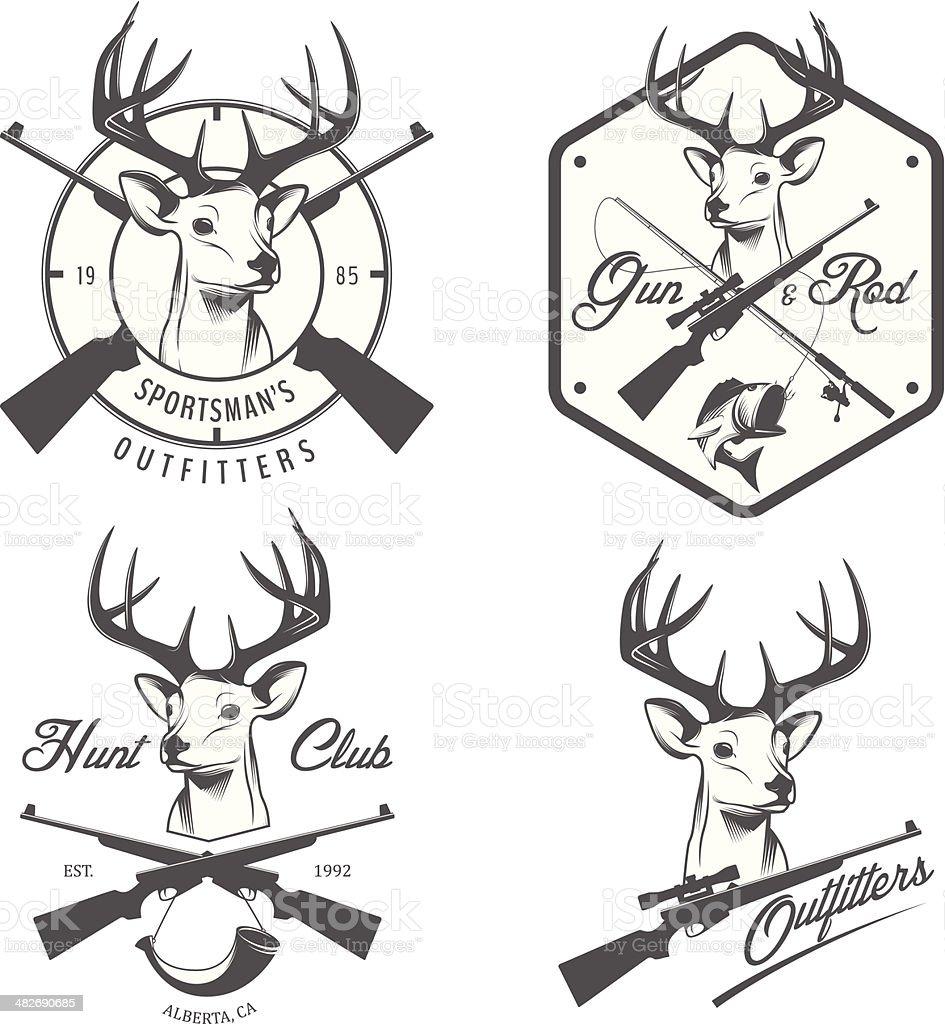 Set of vintage hunting and fishing labels, badges vector art illustration