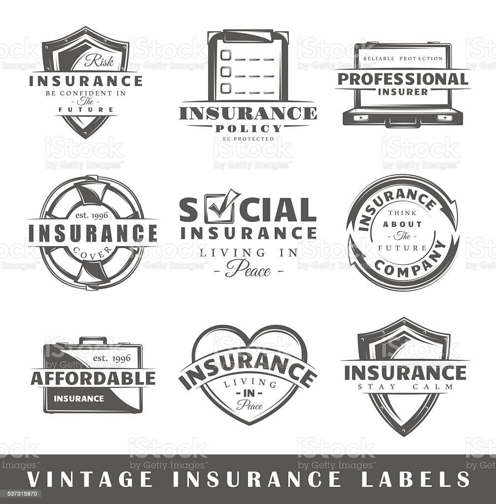 Set of vintage insurance labels vector art illustration