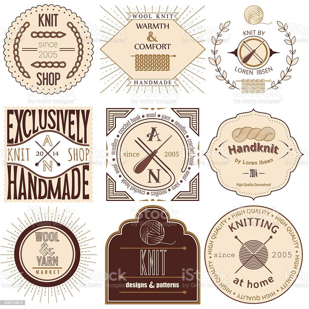Set of vintage knitting labels, badges and design elements vector art illustration