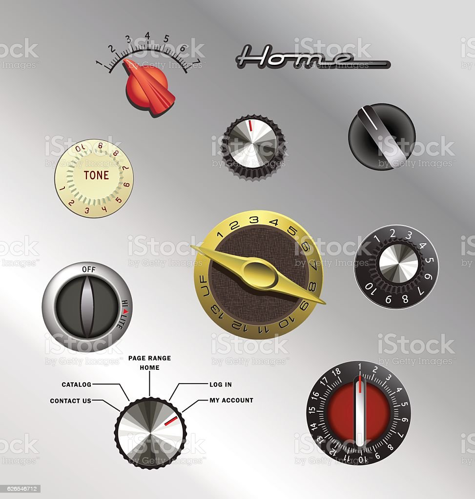 set of vintage knobs and controls from electronics and appliances vector art illustration