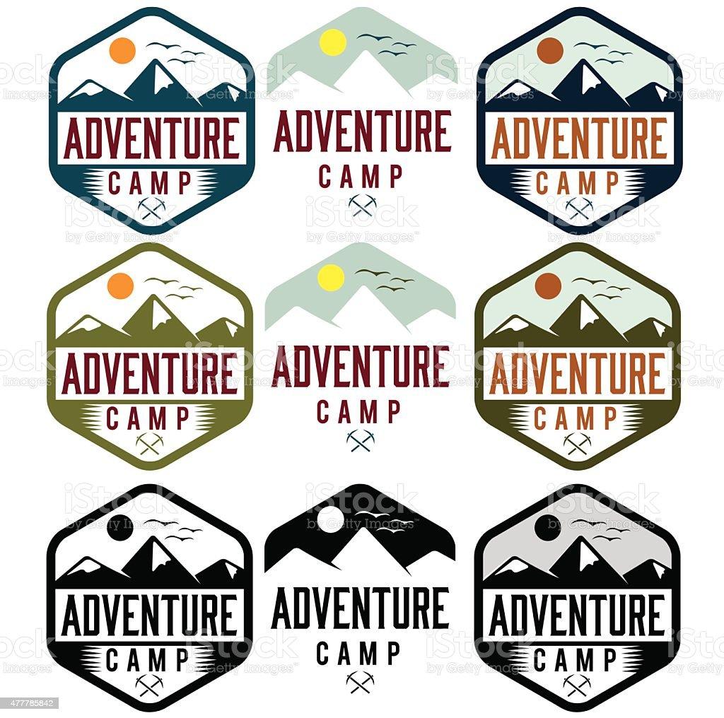 set of vintage labels adventure camp vector art illustration