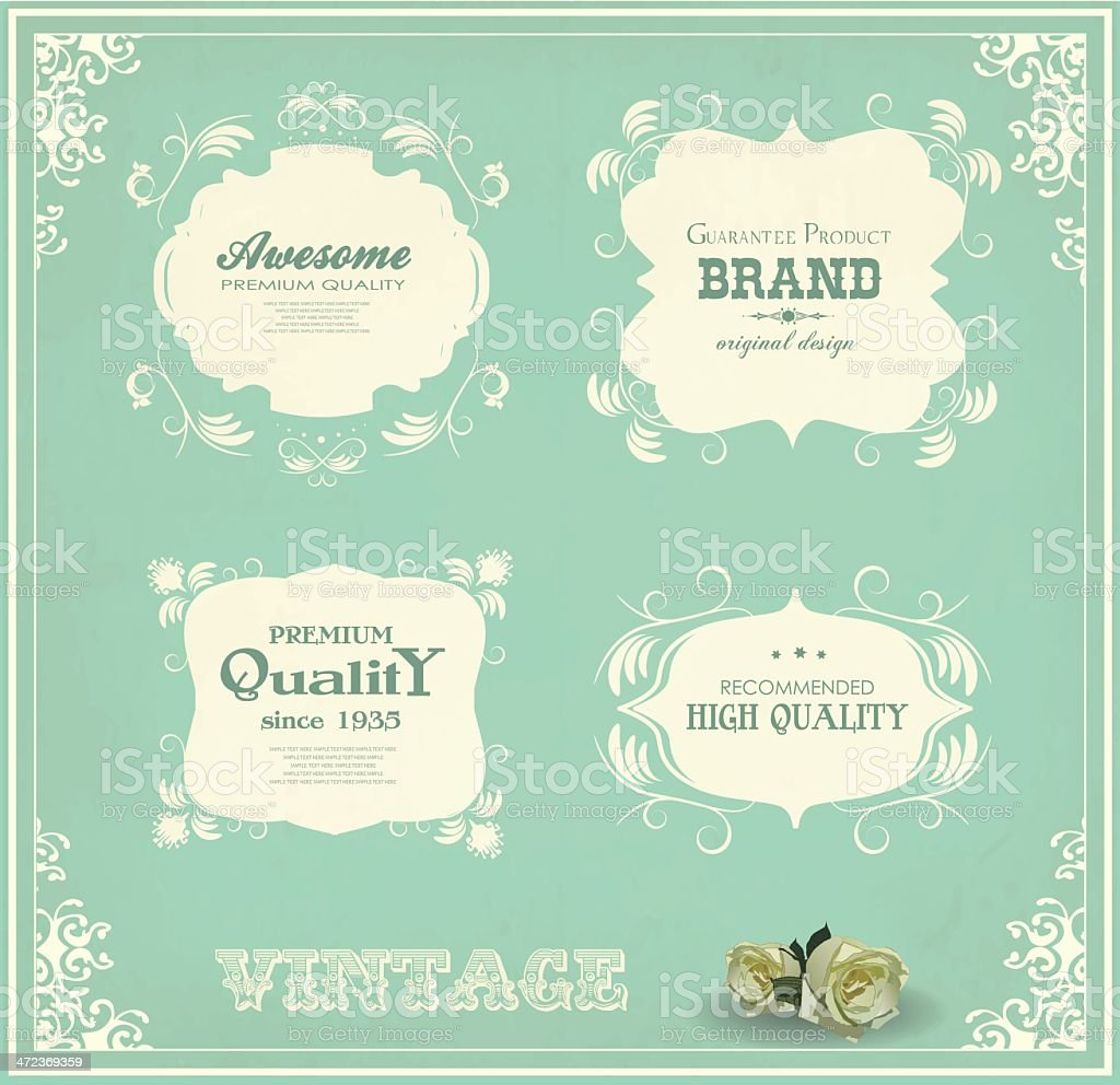 set of vintage labels and calligraphic design elements royalty-free stock vector art