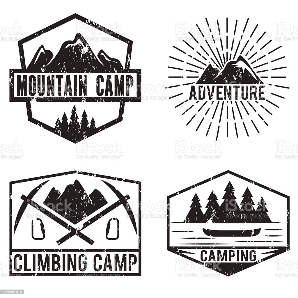 set of vintage labels mountain adventure and camping vector art illustration