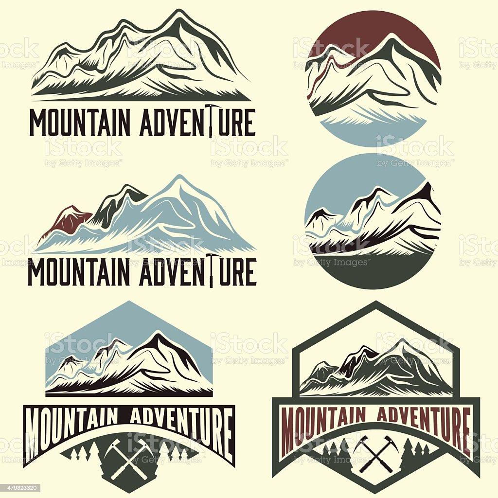 set of vintage labels mountain adventure vector art illustration