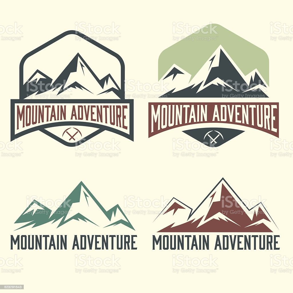 set of vintage labels mountain adventure vector art illustration