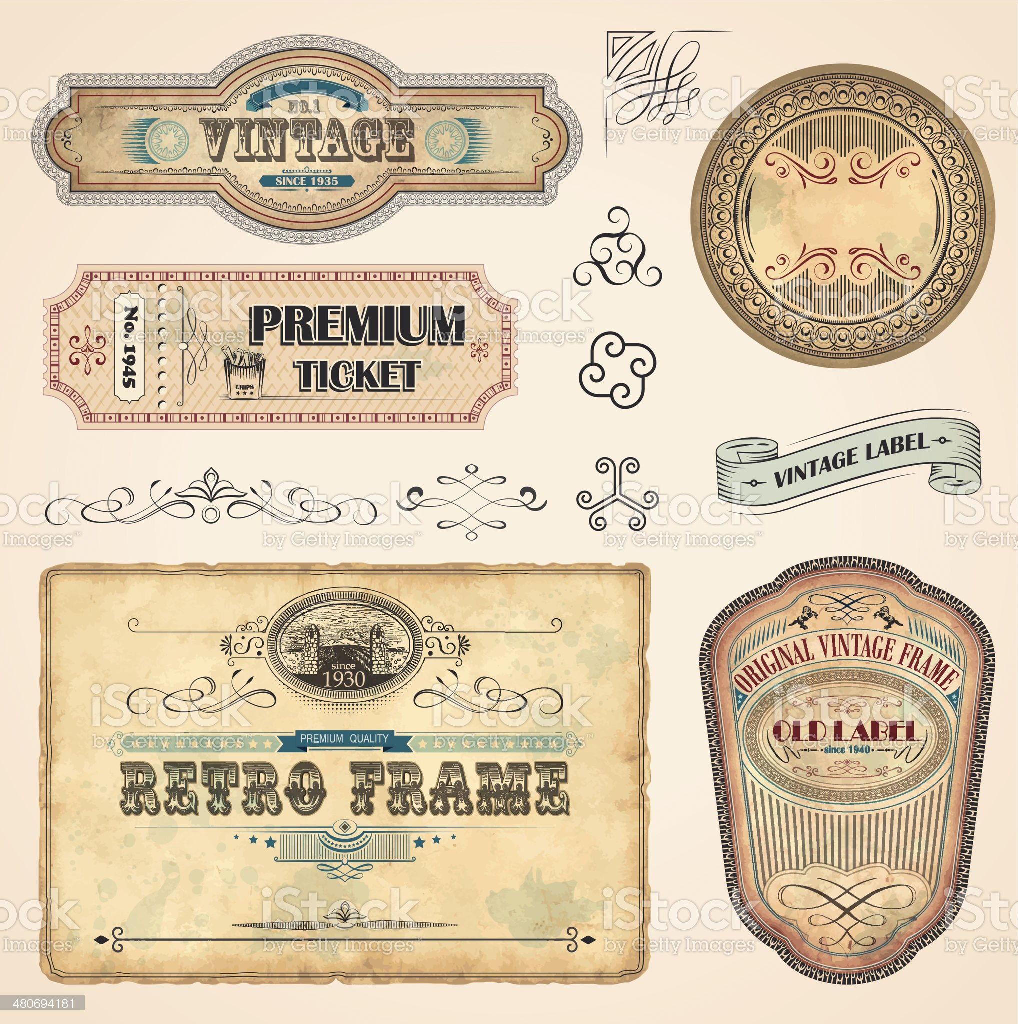 Set of Vintage Labels royalty-free stock vector art