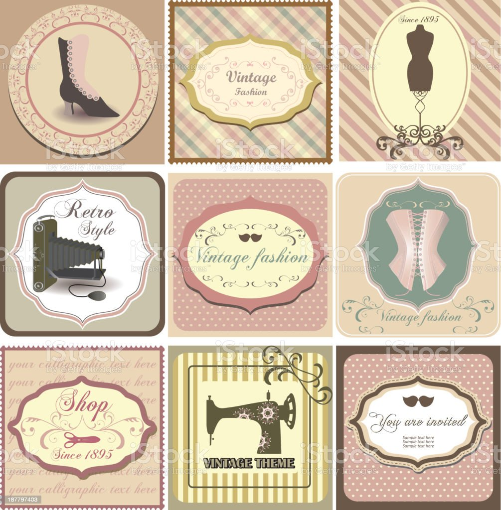 Set of vintage labels with fashion motifs royalty-free stock vector art