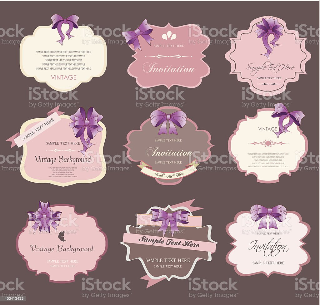 set of vintage labels with ribbons royalty-free stock vector art