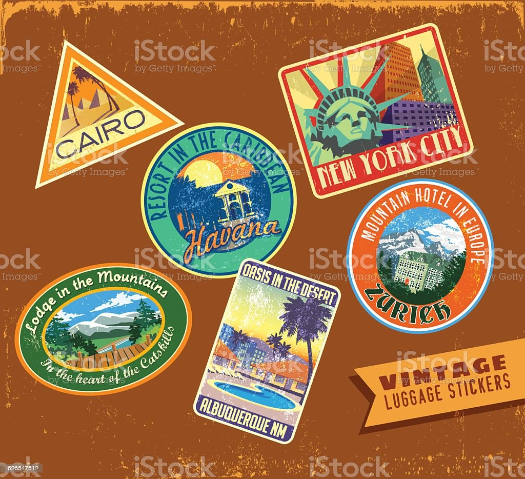 Set of vintage luggage travel stickers on aged leather texture vector art illustration