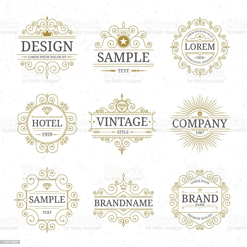 Set of vintage luxury logo templates vector art illustration