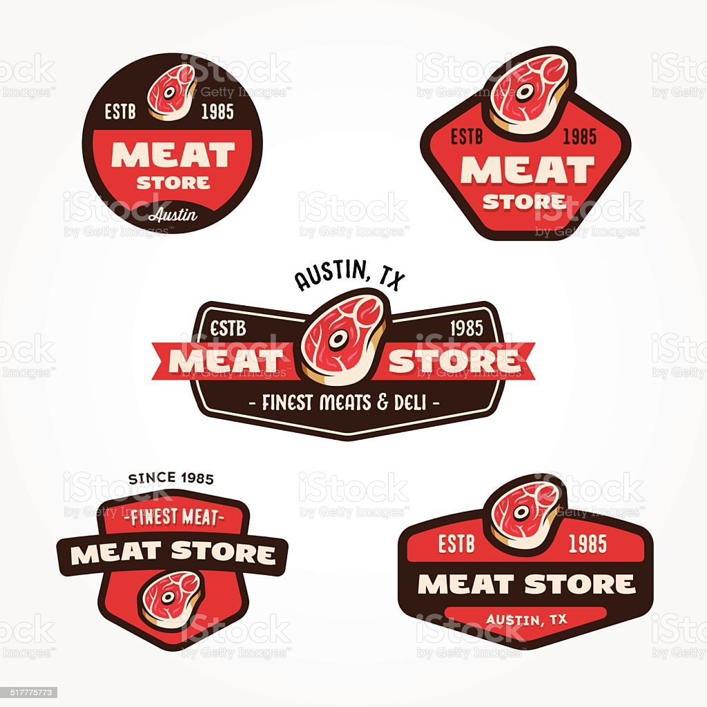 Set of vintage meat market logo templates vector art illustration