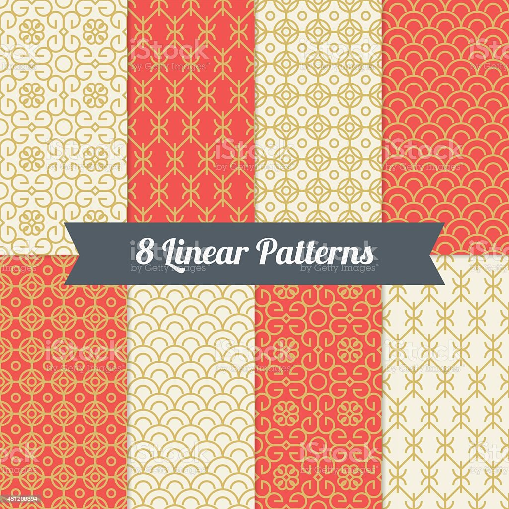 Set of vintage mono line seamless patterns vector art illustration