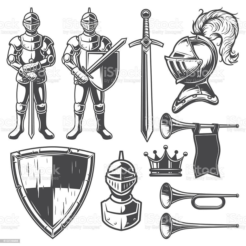 Set of vintage monochrome elements vector art illustration