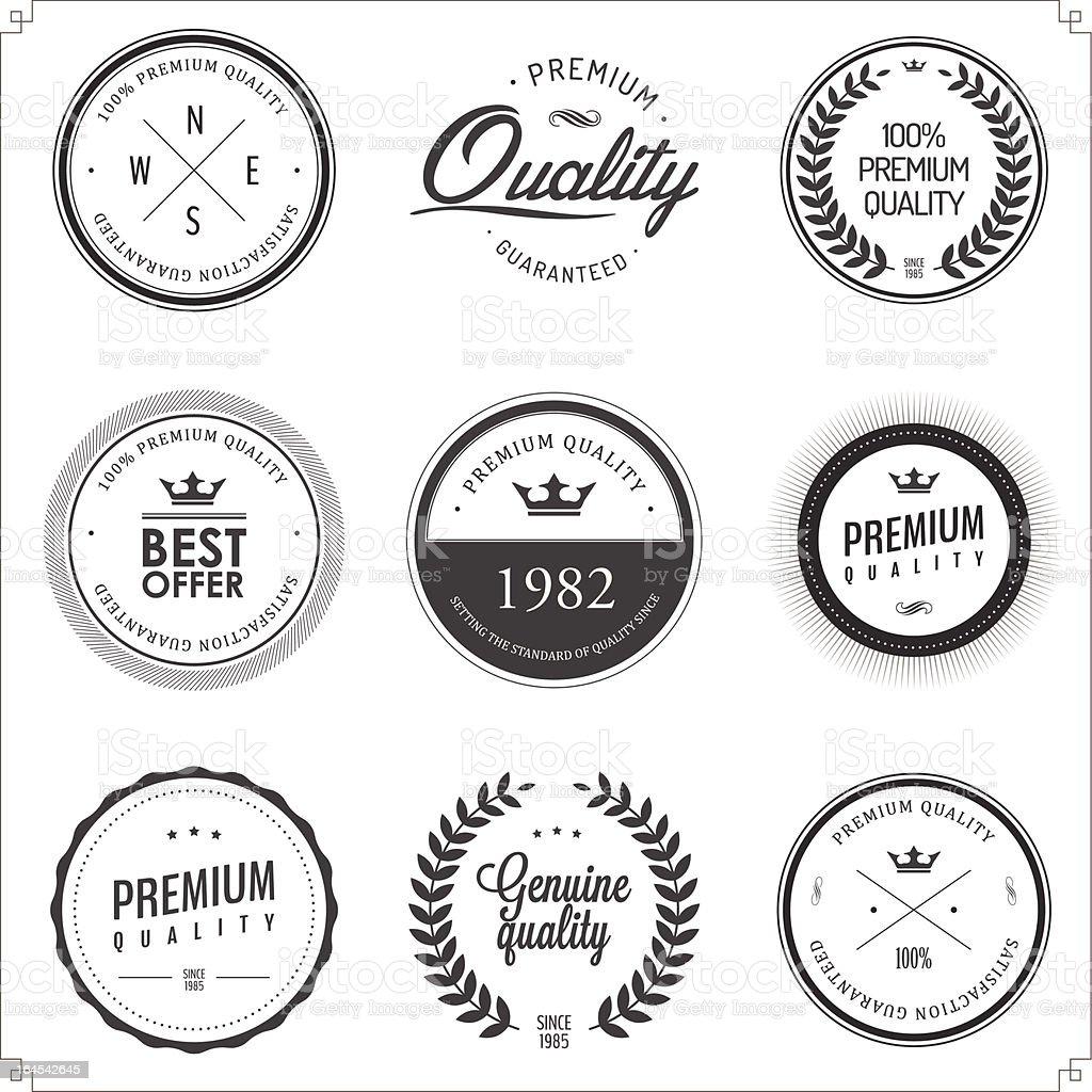 Set of vintage monochrome retail labels and badges vector art illustration