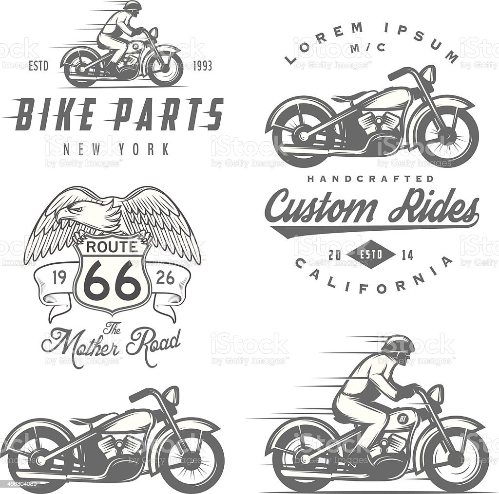 Set of vintage motorcycle labels, badges and design elements royalty-free stock vector art