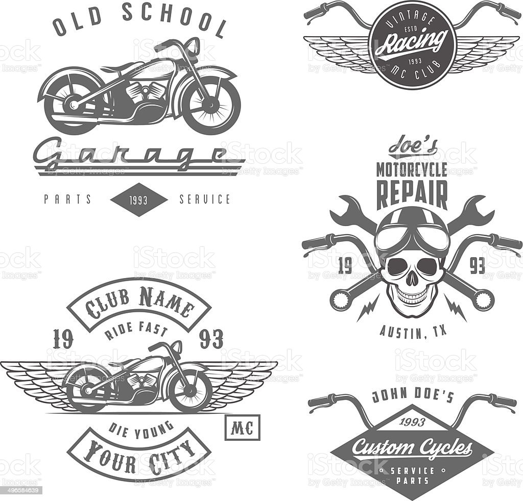 Set of vintage motorcycle labels, badges and design elements vector art illustration