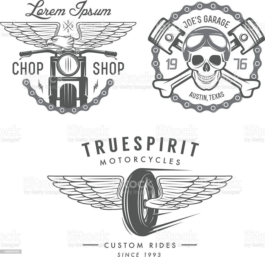 Set of vintage motorcycle labels, badges and design elements vector art illustration