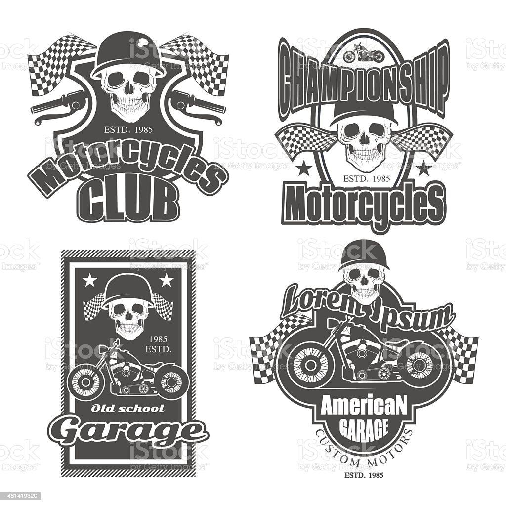 Set of vintage motorcycle labels vector art illustration