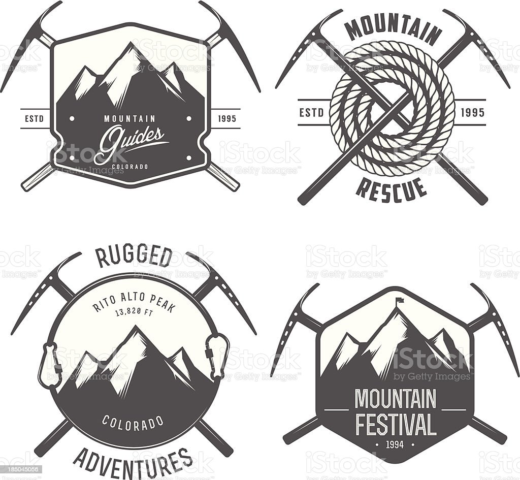Set of vintage mountain explorer labels and badges vector art illustration
