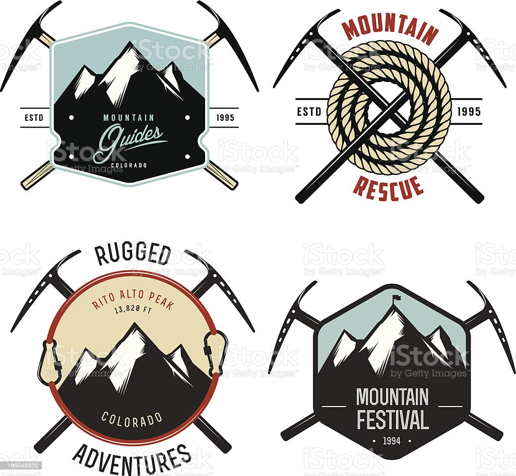 Set of vintage mountain explorer labels and badges royalty-free stock vector art
