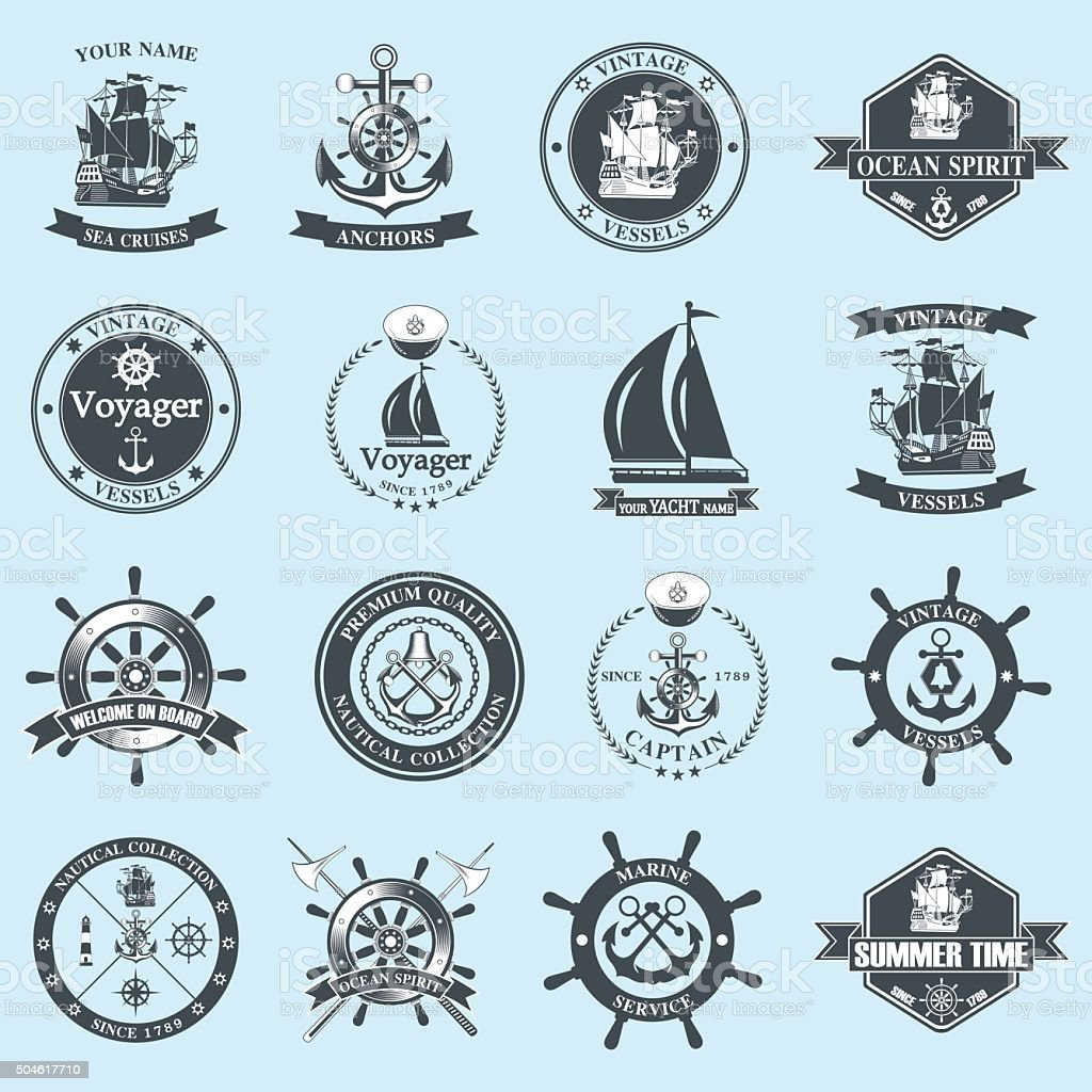 Set of vintage nautical labels, icons and design elements vector art illustration