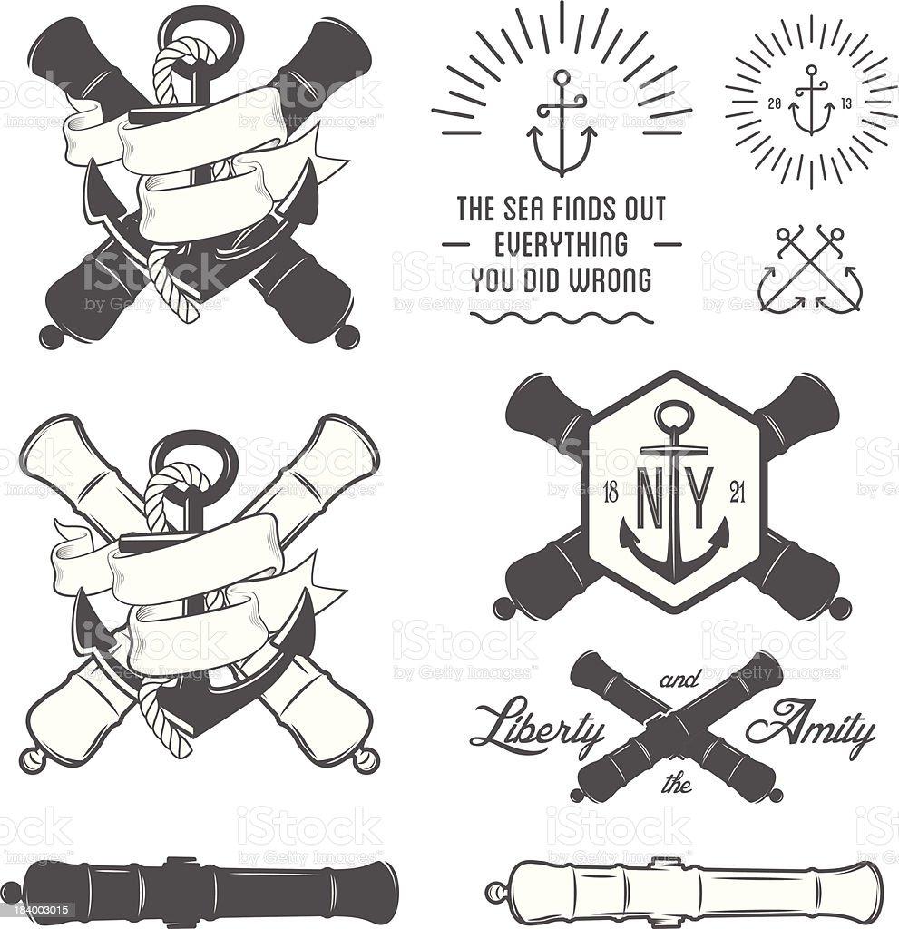 Set of vintage nautical labels vector art illustration