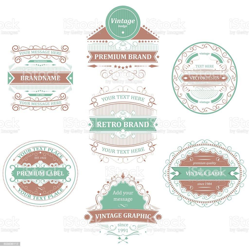Set of vintage ornaments labels, badges or emblems. vector art illustration