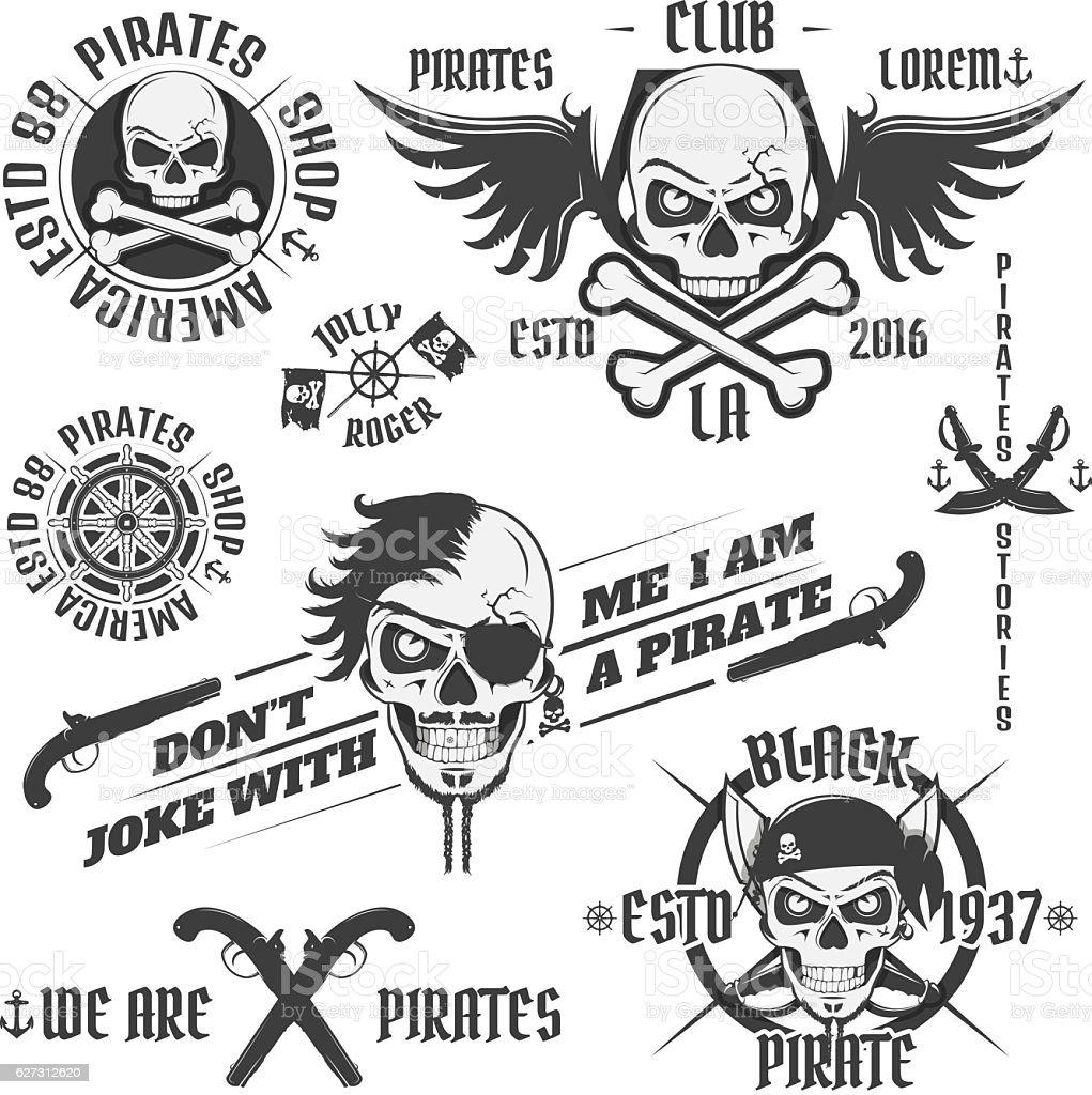 Set of vintage pirate emblems, tattoo, icon, t shirt vector art illustration