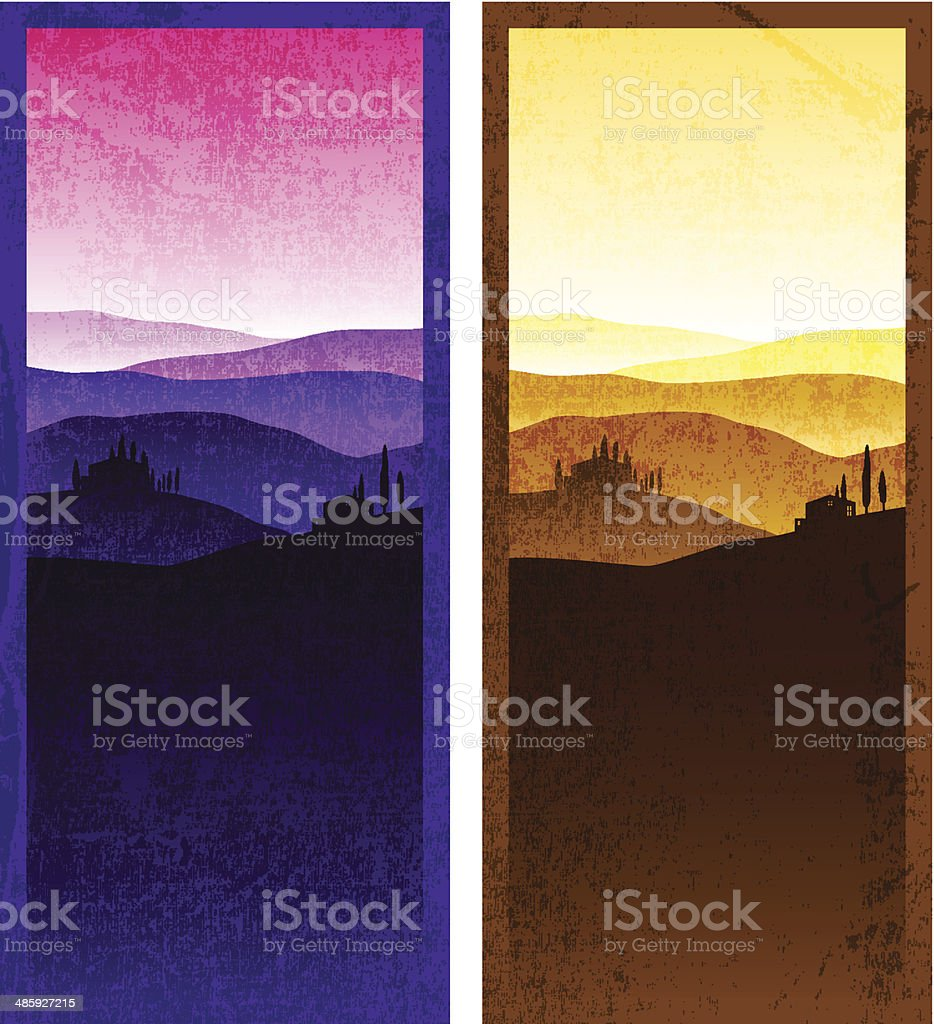 Set of vintage poster vector art illustration