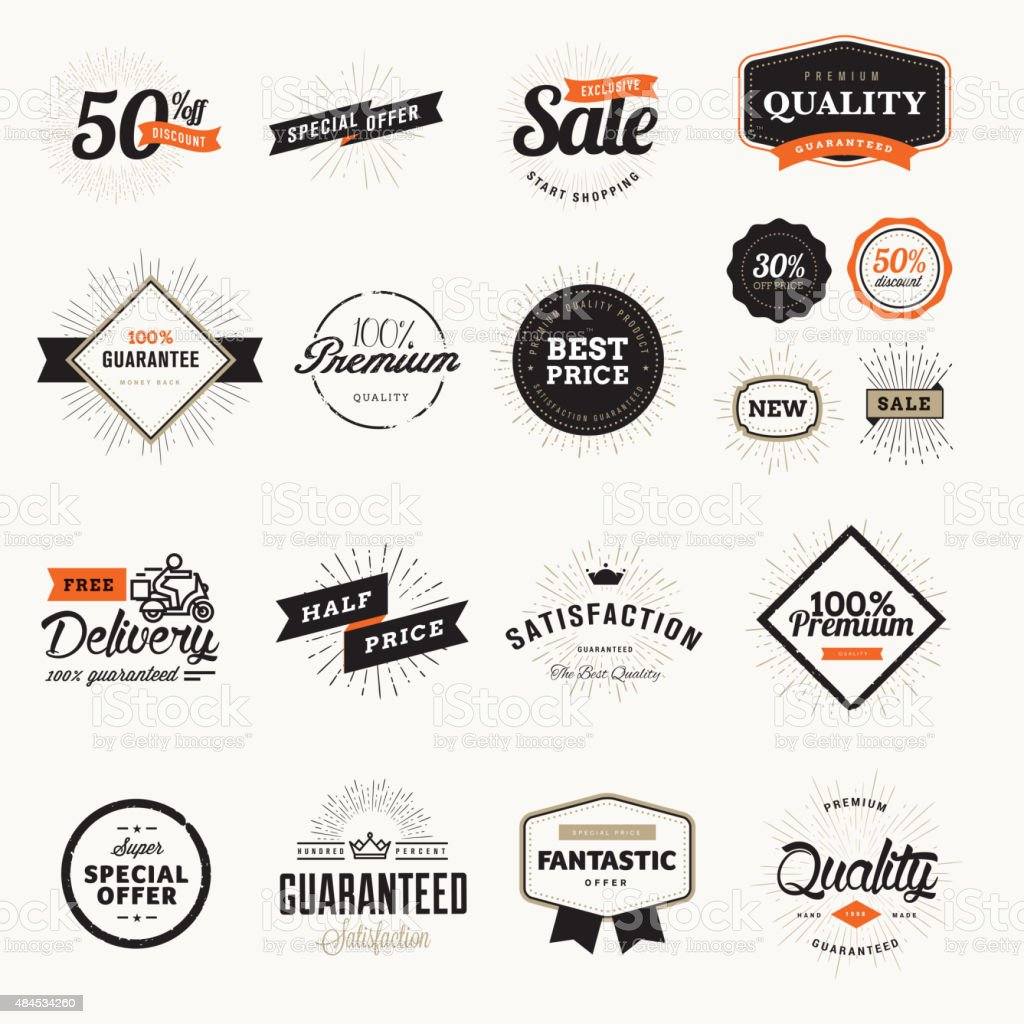 Set of vintage premium quality badges and stickers vector art illustration