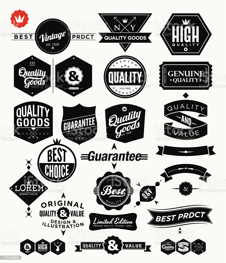 Set of Vintage Premium Quality Stickers And Elements vector art illustration