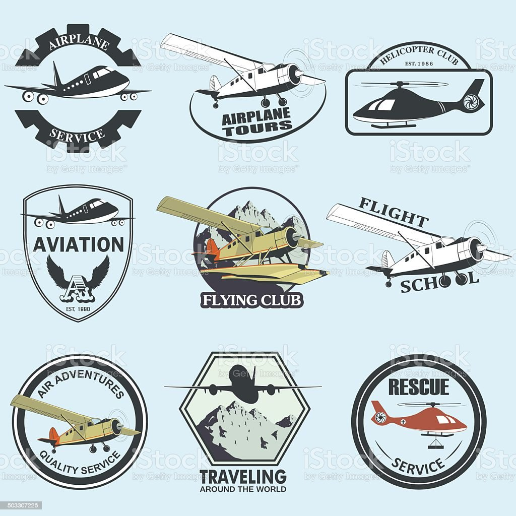Set of vintage retro aeronautics flight badges vector art illustration