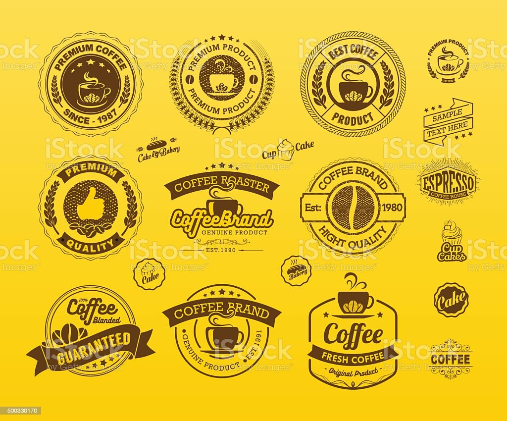 Set of vintage retro coffee badges and labels vector art illustration