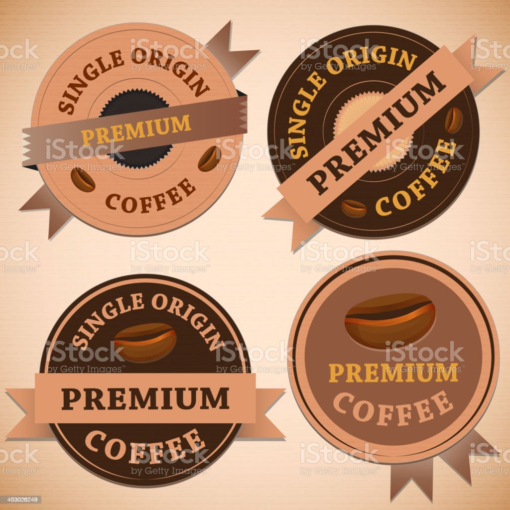 Set of vintage retro coffee badges royalty-free stock vector art