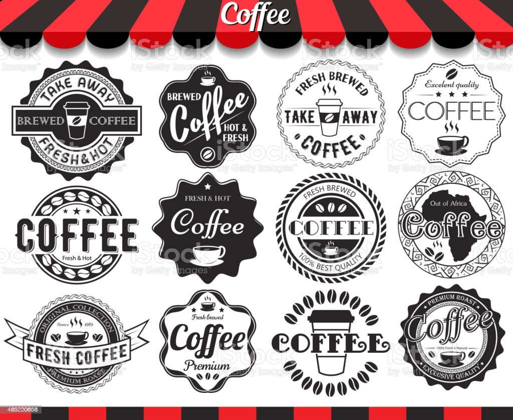 Set of vintage retro coffee elements styled design vector art illustration