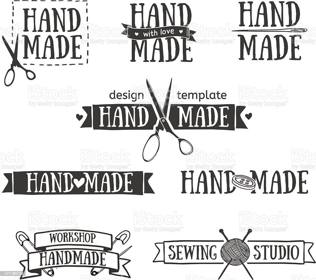 Set of vintage retro handmade logo elements. vector art illustration