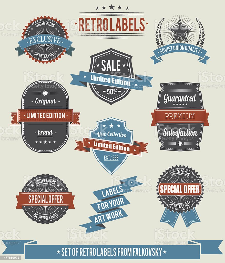 Set of vintage retro labels, calligraphic elements royalty-free stock vector art