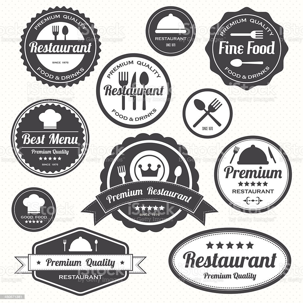 Set of vintage retro restaurant badges and labels vector art illustration