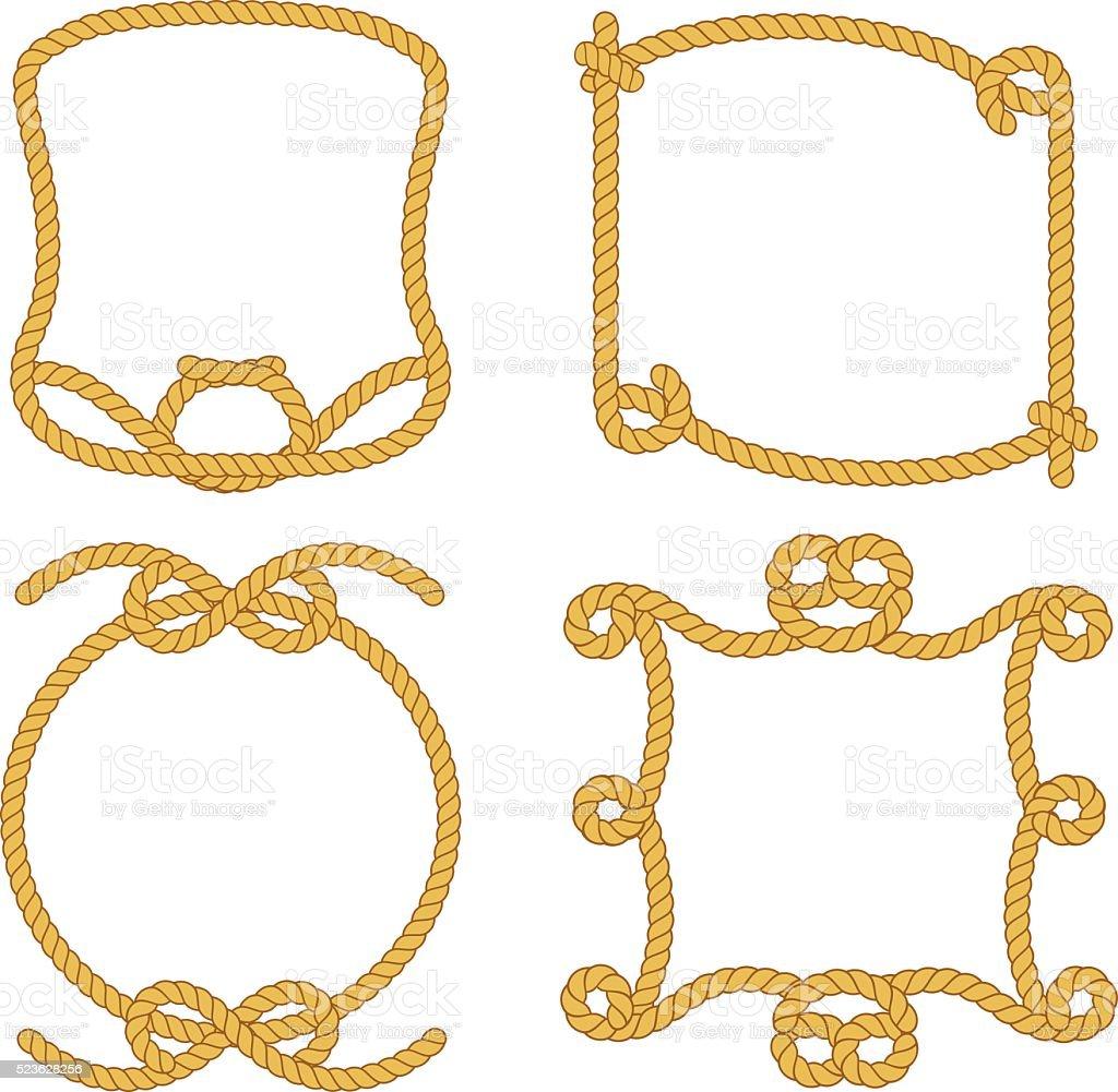 Set of vintage rope. Vector cartoon illustration vector art illustration