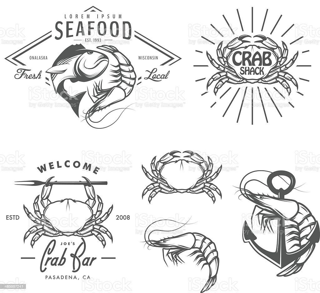 Set of vintage seafood labels, badges and design elements vector art illustration