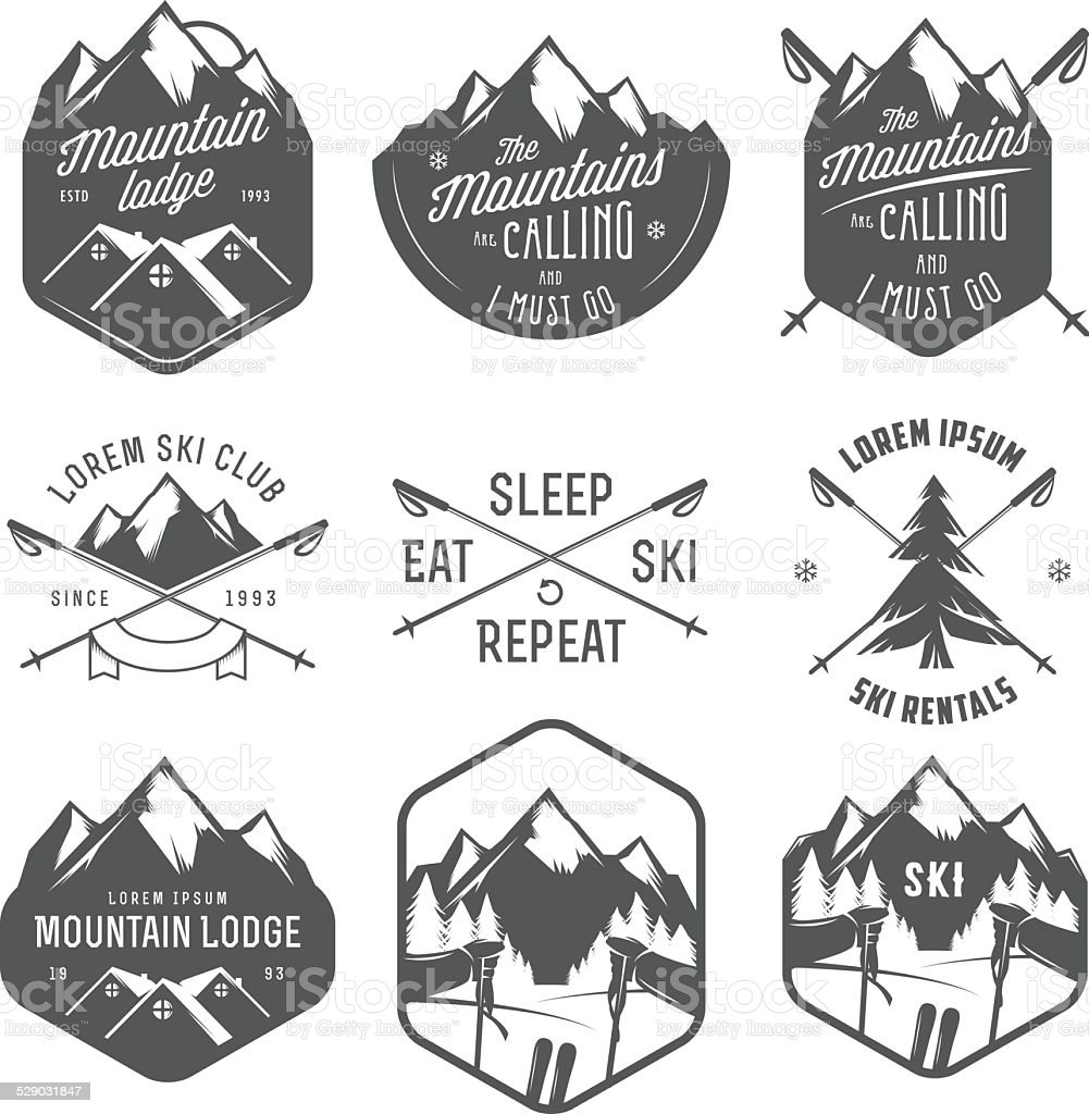 Set of vintage skiing labels and design elements vector art illustration