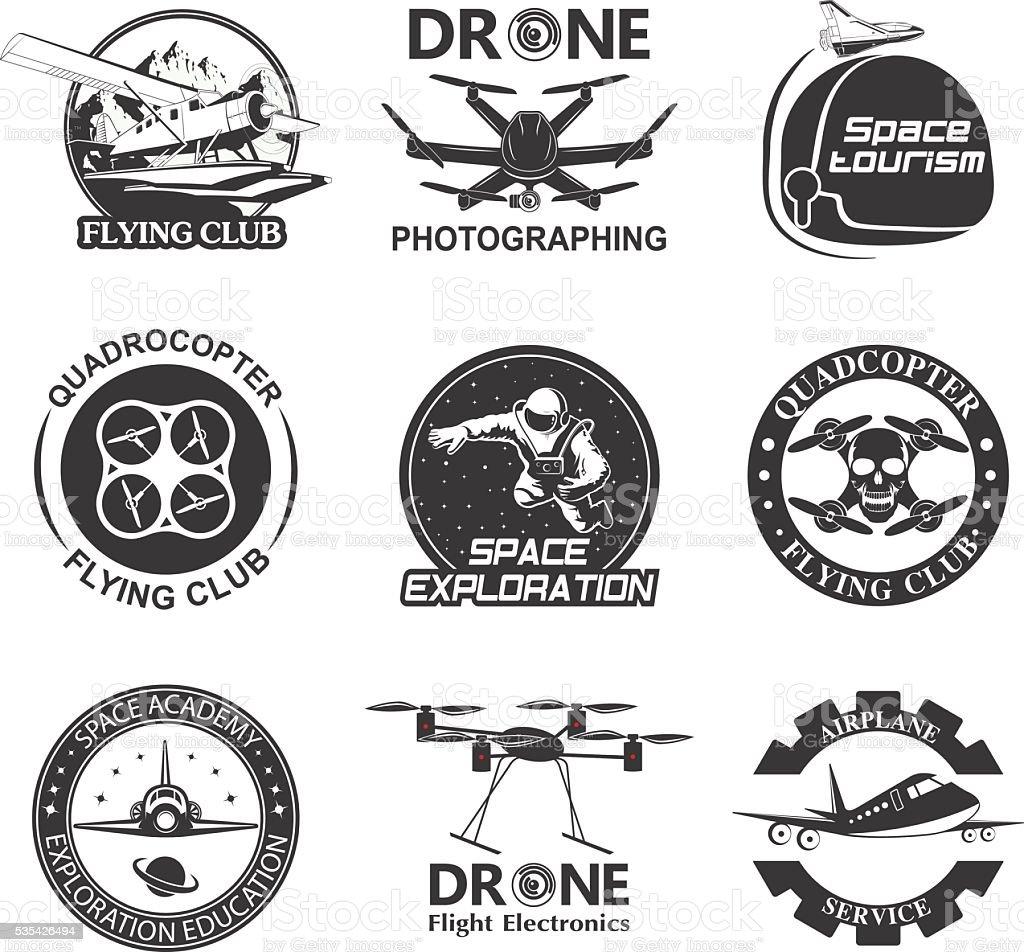 Set of vintage space, drone , aeronautics flight emblems, labels, badges vector art illustration