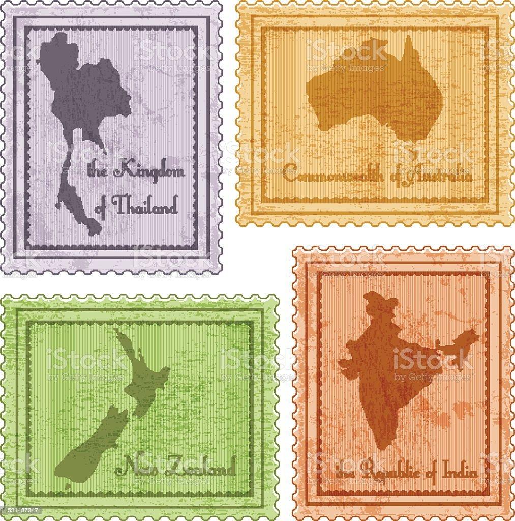 set of vintage stamps vector art illustration