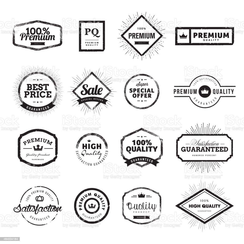 Conjunto de vintage estilo etiquetas de calidad premium y distintivos illustracion libre de derechos libre de derechos